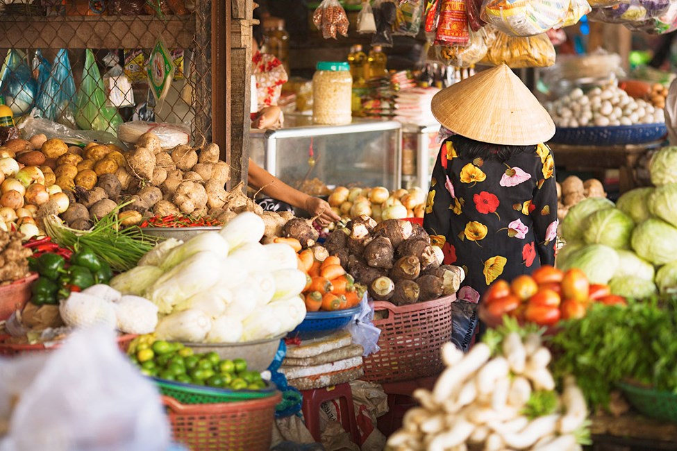 Vihannesmarkkinat Duong Dongissa, Phu Quoc, Vietnam