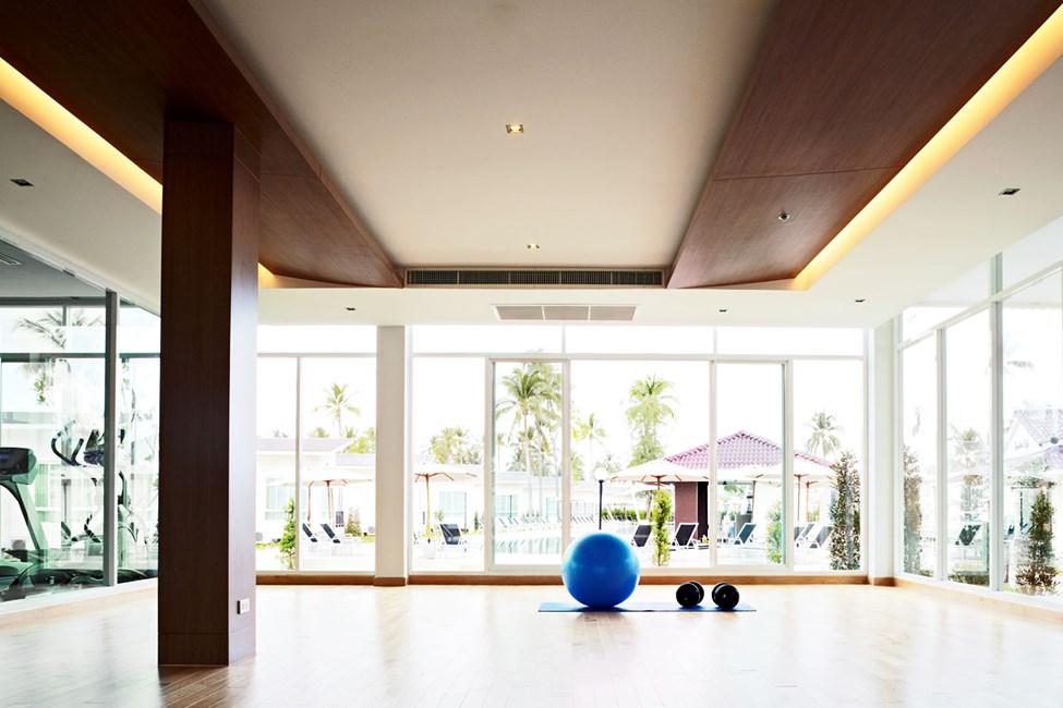 Hotellissa on myös kuntosali halutessasi treenata lomalla.