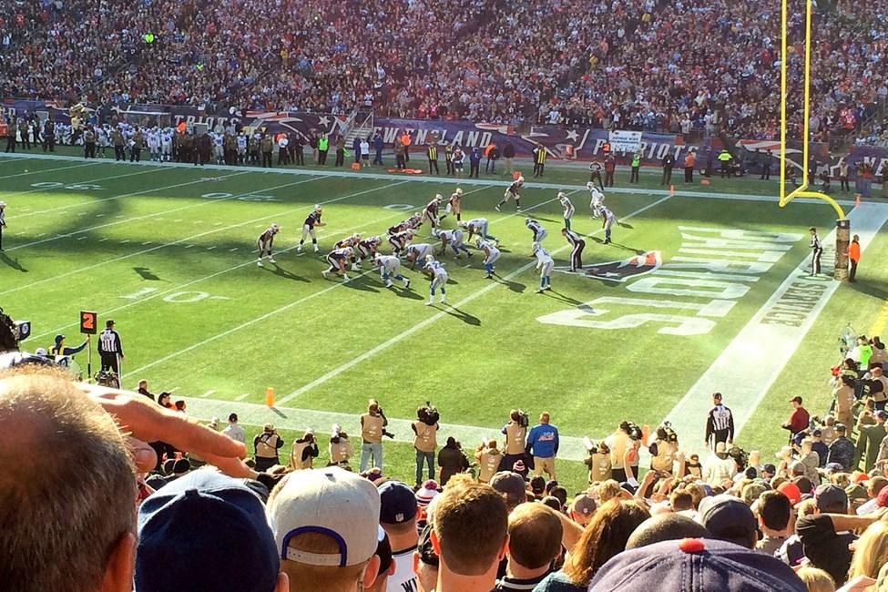 New England Patriots pelaa kotiottelunsa Gillette Stadiumilla Bostonin ulkopuolella