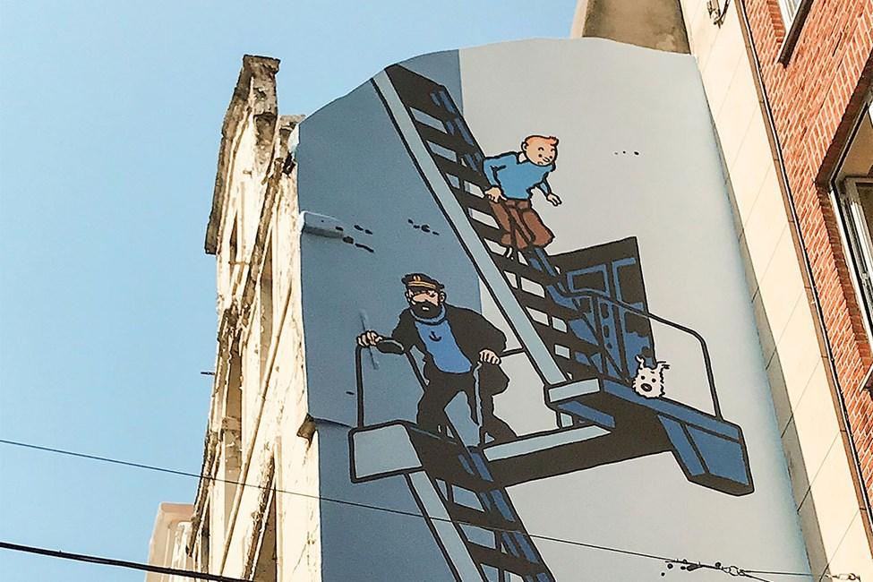 Tintti-seinämaalaus Rue de l'Etuve -kadun varrella
