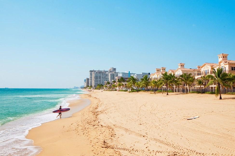 Kymmenen kilometrin pituinen ranta Fort Lauderdalessa