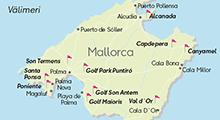 Kartta golfkohteista, Mallorca